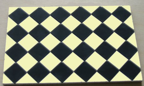 Black & Cream Square Quarry Tiles - Dolls House